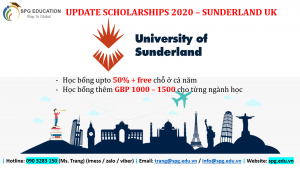 Đại học Sunderland – học bổng 50%